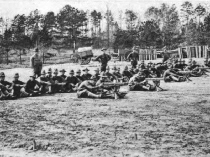 Machine gun drill in Camp Greene copy
